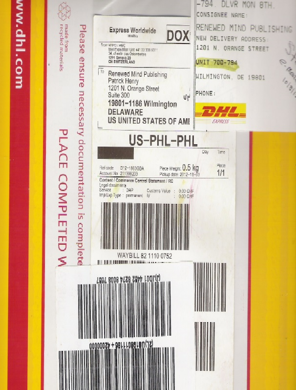 WIPO - DHL From Switzerland
